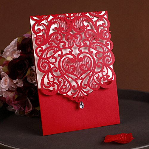 WOMHOPE® 50 Pcs - Classic Red Color Laser Cut Lace Card Wedding Invitation Party Folding Invitations Cards Birthday Invitations Cards Wedding Favors with Acrylic Rhinestone (D)
