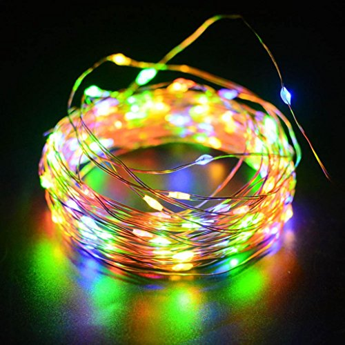 LiPing 12M 100LED Solar Energy Copper Wire Copper Wire Mini Fairy String Lights for Christmas, Weddings,Garden . (Multicolor) from LiPing