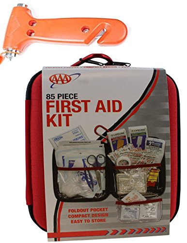 Kit Turbo 1990 Pocket (AAA COMPACT FIRST AID KIT/MEDICAL EMERGENCY - for Home, Car, Camping, Hiking, Sport, Work, Office, Boat, Survival, and Traveling - Small and Lightweight w/Dash WINDOW BREAKER/SEAT BELT CUTTER)