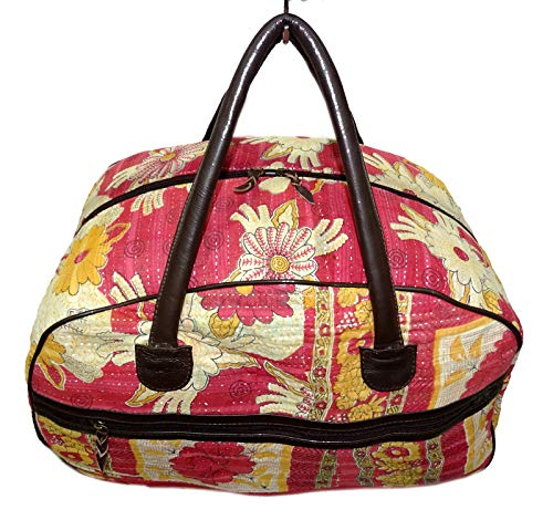 Bhavya International Indian Cotton Handmade Kantha Bowling Bag Vintage  Large Size Luggage Duffle Bag Hippie Travelling Handbag Women s Leather Bag  Size ... c5c8e99fa4aea