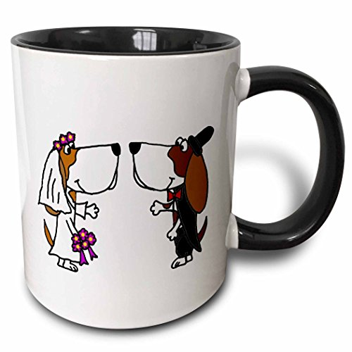 3dRose 201767_4 Funny Hedgehog Bride And Groom Wedding Cartoon Mug 11 oz Black