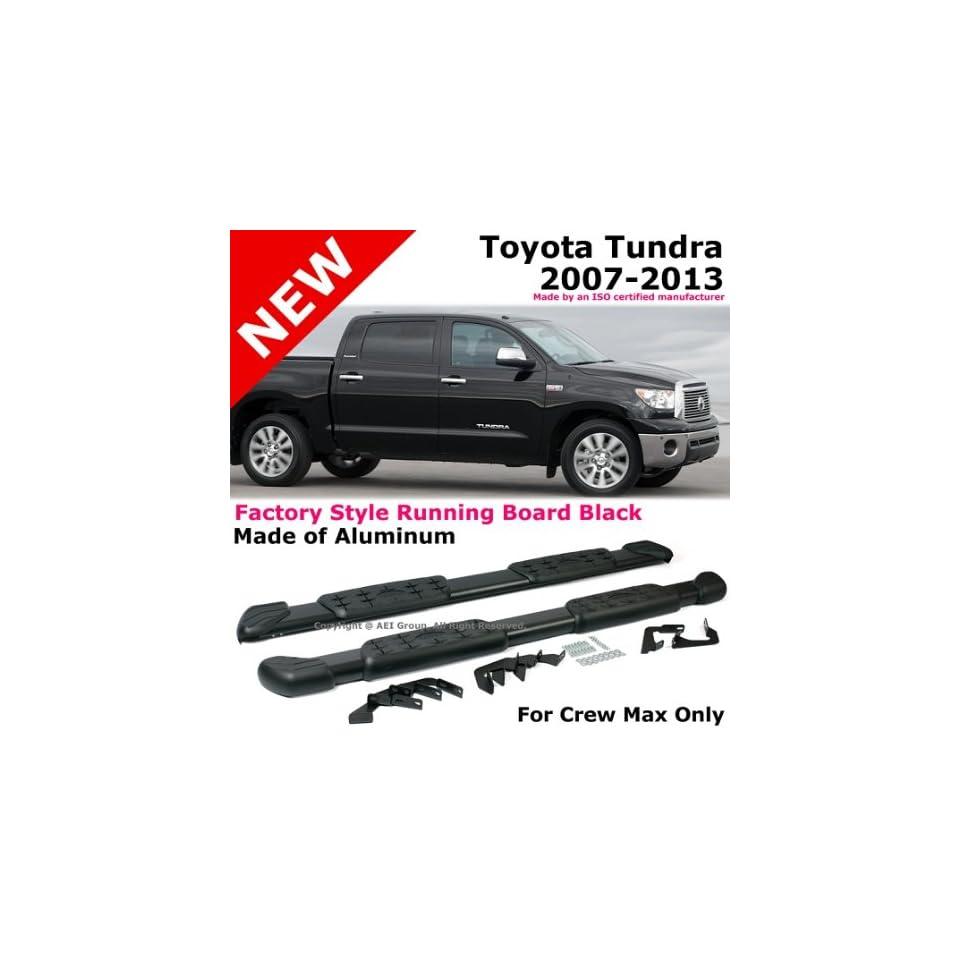 Toyota Tundra 2007 to 2013 Crew Max Brushed Aluminum Black Side Step Bar Running Board