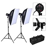CRAPHY Photography Studio Soft Box Lighting Kit with 220W Strobe Light x2 + Barn Doors + Softbox x2 + Light Stands x2 + Wireless Triggers