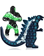 2PCS Big Size Toys Sensory Push Pop Jumbo King Kong Glow Fidget Toys Relieves Stress and Anti-Anxiety for Kids Adults Perfect for Birthday Party Favors, School Classroom Rewards