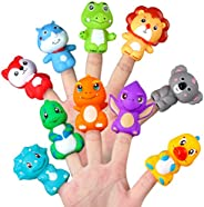 Vanmor Rubber Animals Finger Puppets for Toddlers, Colorful Different Storytelling Puppet Toy for Teaching Sho
