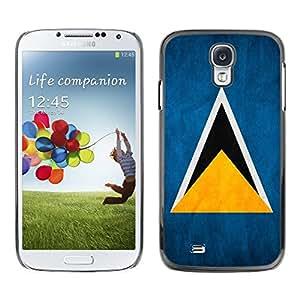 TopCaseStore / la caja del caucho duro de la cubierta de protección de la piel - Saint Lucia Grunge Flag - Samsung Galaxy S4 I9500