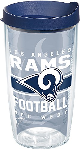 Tervis 1271119 NFL Los Angeles Rams Gridiron Tumbler with Wrap and Navy Lid 16oz, Clear ()
