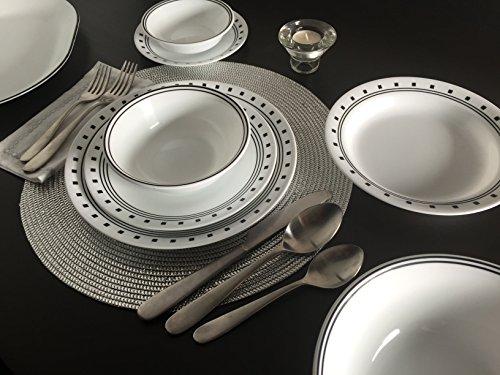 USA Corelle 20 Piece Livingware Dinnerware Set With Storage City Block Serv