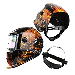 Solar Powered Welding Helmet Auto Darkening Hood with Adjustable Shade Range 4/9-13 for Mig Tig Arc Welder Mask Shield Flaming Skull Design from XUGEL GROUP
