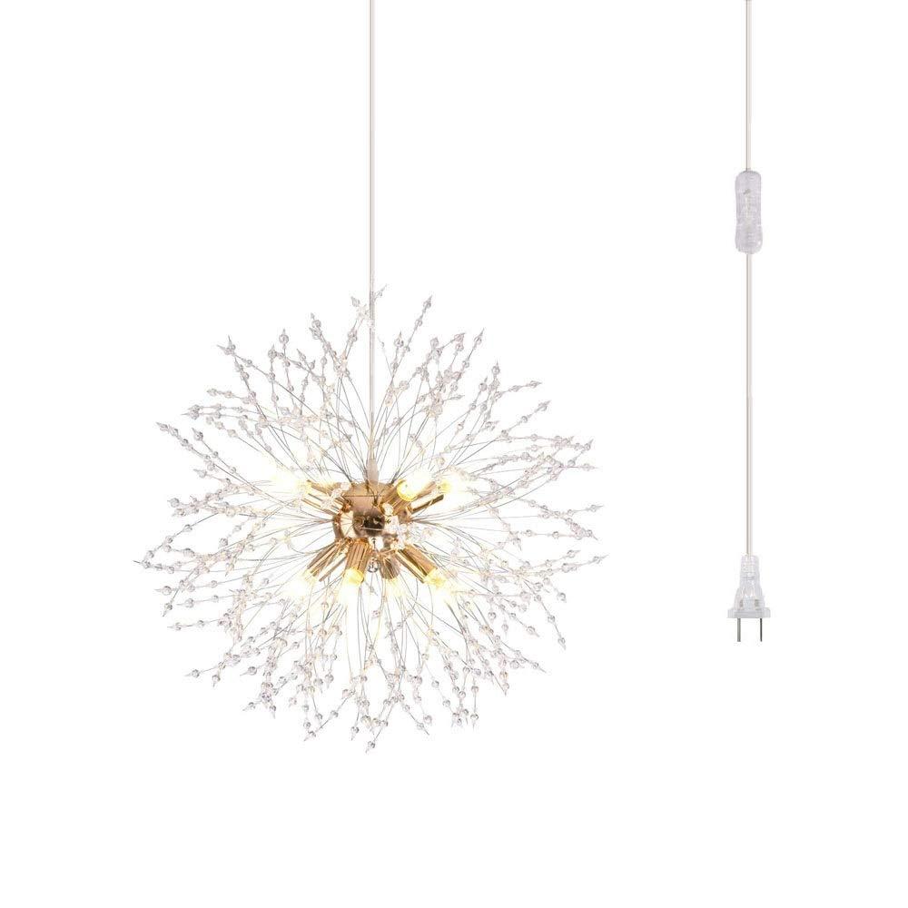 Dellemade DD00861 Plug in Sputnik Chandelier 8-Light Golden Luxurious Pendant Light for Bedroom, Living Room, Dining Room