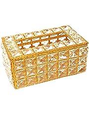 FLAMEER Crystal Tissue Box Cover Rechthoekige Servethouder voor Woondecoratie Keuken Eetkamer Badkamer - Goud