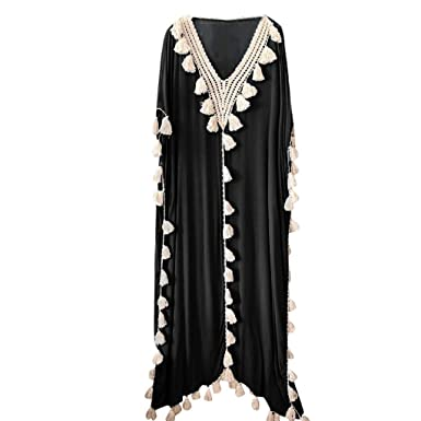 5bf6d8cc08 Amazon.com: Women Long Sleeve Dress Bohemia Lace Splice Loose Casual Tassel Maxi  Dresses Summer Holiday Party Dress: Clothing