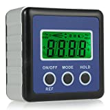 Digital Angle Finder, Neoteck LCD Digital Angle Gauge Waterproof Protractor Inclinometer Bevel Box for Helicopter / Bevel Angle of Miter Saw / Automobile Test and Repair and ect-Blue