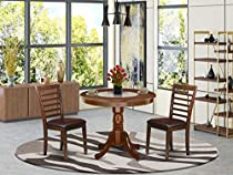 ANML3-MAH-W 3Pc Rounded 36 Inch Family Table And 2 Wood Seat Chairs