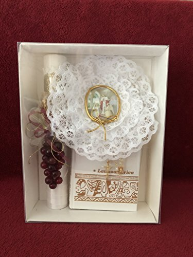 First Holy Communion Grapes/Embossed Oval Medallion Candle Set for Girl - Estuche Para Primera Comunion para niña