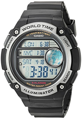 World Time 100m Watch - Casio Men's 'Classic' Quartz Resin Casual Watch, Color:Black (Model: AE-3000W-1AVCF)