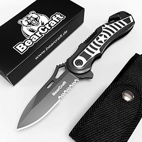 BearCraft Folding Knife in with Free eBook Outdoor Survival Serrated Knife Pocket Knife with Belt Cutter and Glass Breaker