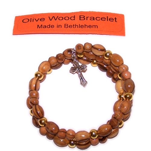 Expandable wired Olive wood religious bracelet with Silver tone Crucifix and gold metal (Wood Tone Crucifix)