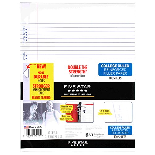 College Ruled Sheets (Five Star Filler Paper, College Ruled, Reinforced, Loose Leaf Paper, 11 x 8.5