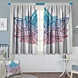 Yoga Waterproof Window Curtain Tribal Patterned Boho Ornamental Lotus Flower Sacred Spiritual Artwork Blackout Draperies for Bedroom 72'' W x 84'' L Blue Dried Rose and White