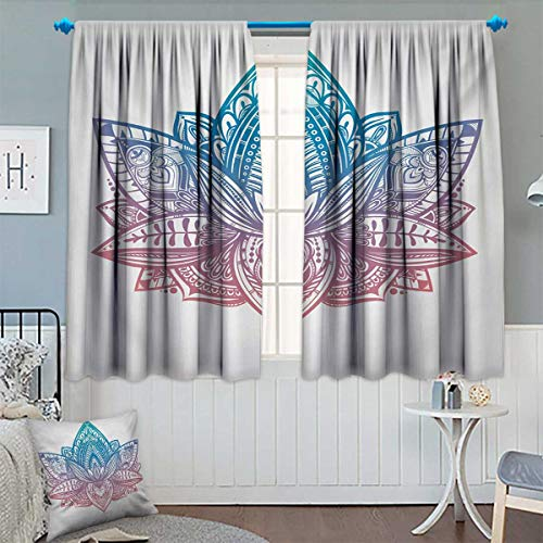 Yoga Waterproof Window Curtain Tribal Patterned Boho Ornamental Lotus Flower Sacred Spiritual Artwork Blackout Draperies for Bedroom 72'' W x 84'' L Blue Dried Rose and White by Chaneyhouse