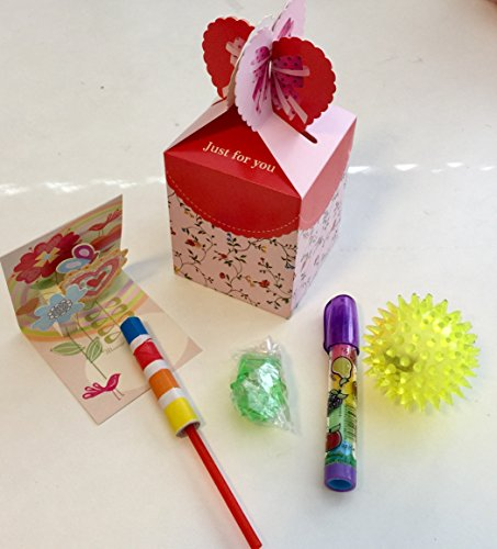6 Pack Goody Bags Pre Made & Filled with Toys, Boys & Girls Goodie Bag, Filled Goody Bag / Loot Bag, Light up Toys & Candy; Pencil; Eraser; whistle; heart;