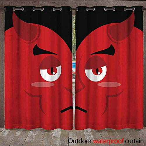 RenteriaDecor Outdoor Curtains for Patio Sheer Devil sad Sadness Emotion on red Background Demon Pessimist S W72 x L108