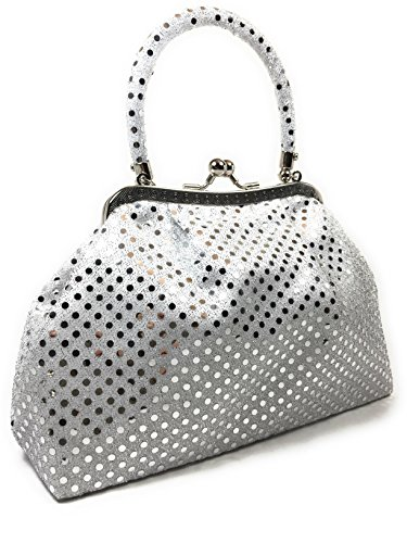Handbag - Pouch Metallic White by WiseGloves, going out handbag clutch purse tote -