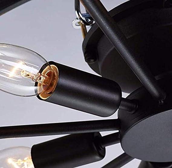KJLARS Vintage L/ámparas de Techo Led Negro Industrial Rusticas Redondo Plafon techo Iluminaci/ón Luz de cocina Dormitorio Habitaci/ón 46cm