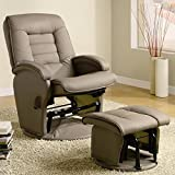 600166 Recliner Beige Leatherette Glider With Ottoman by Coaster Fine Furniture
