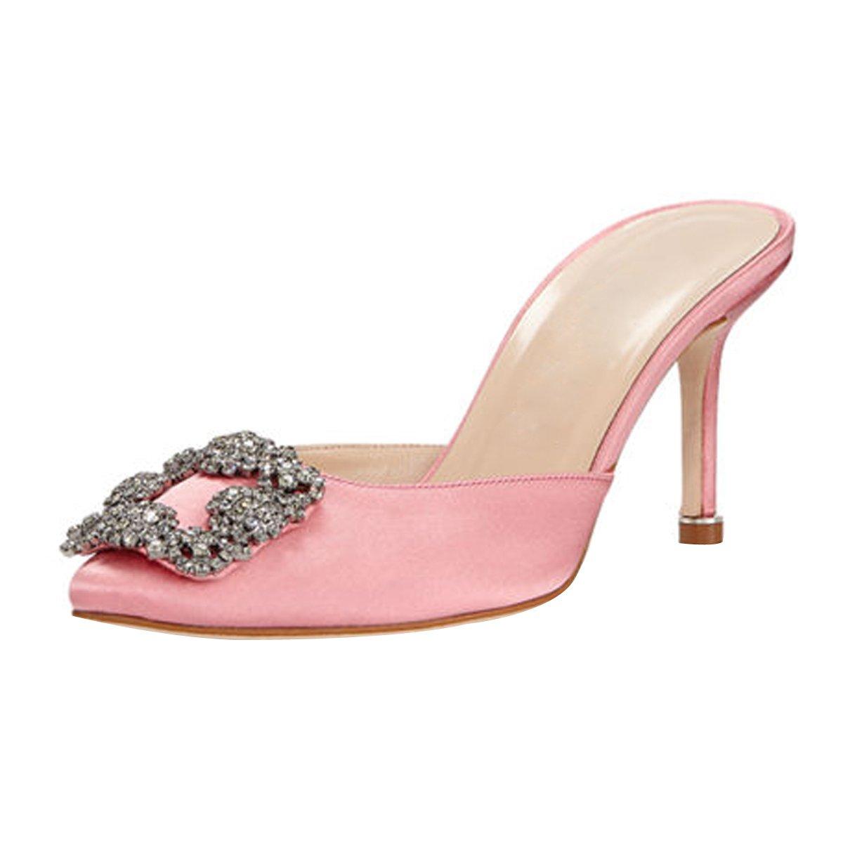 Mavirs Women's Satin Pointy Toe Slide Sandals Rhinestones Kitten Heels Pumps Jeweled Slingback Heeled Mules Shoes 8.5 M US