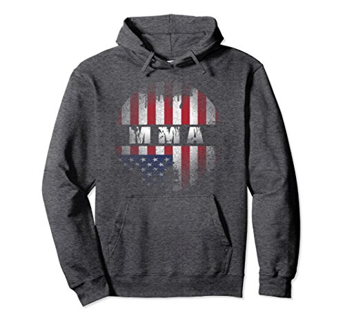 Unisex MMA USA Flag Hoodie, Mixed Martial Arts Hoodies Small Dark Heather