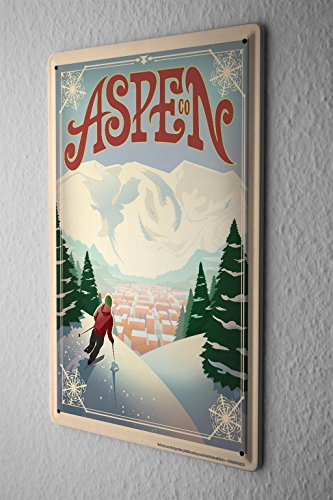 Tin Sign World Tour Aspen ski area skiers Switzerland Metal Plate 8X12