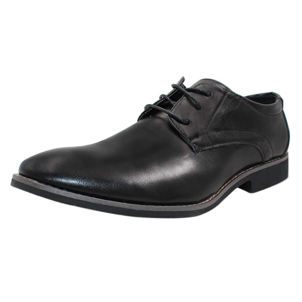 Yudesun Hombre Formal Oxford Zapatos de Vestir - Cuero con Cordones Clásico Señaló Boda Moda Zapato Negocios Brogue Derby Oficina Vintage Plano