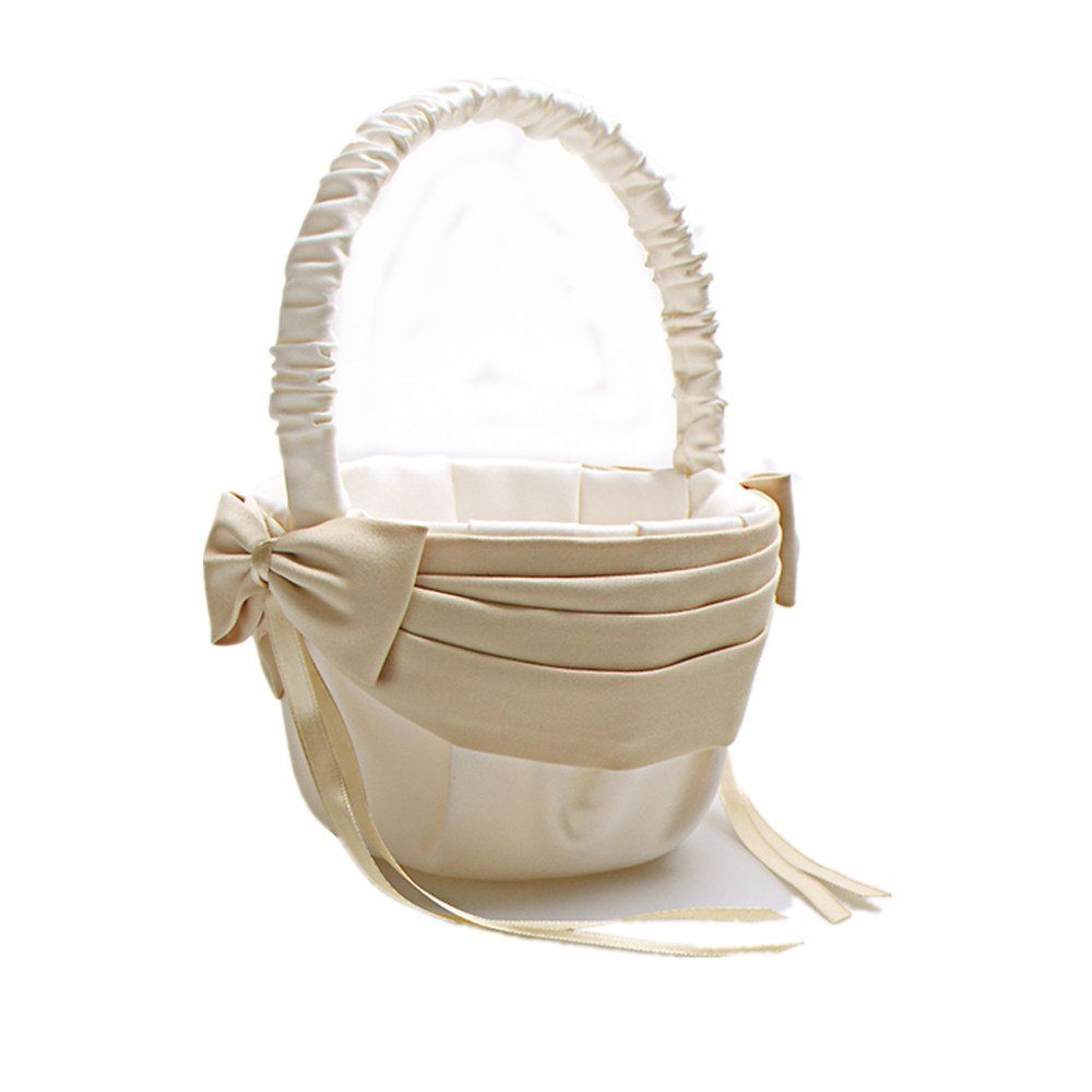 AZDRESS Ivory Champagne Satin Flower Girl Basket with Bow