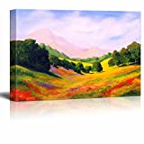 Canvas Prints Wall Art - Beautiful Scenery/Landscape Spring Valley in Oil Painting Style | Modern Wall Decor/Home Decoration Stretched Gallery Canvas Wrap Giclee Print & Ready to Hang - 24'' x 36''