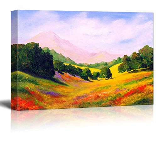 Scenery Oil Painting - Canvas Prints Wall Art - Beautiful Scenery/Landscape of Spring Valley in Oil Painting Style | Modern Wall Decor/Home Decoration Stretched Gallery Canvas Wrap Giclee Print & Ready to Hang - 16