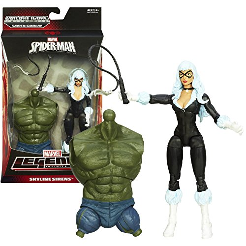 Hasbro Year 2013 Marvel Legends Infinite Spider-Man Series 7 Inch Tall Action Figure - SKYLINE SIRENS BLACK CAT (Felicia Hardy) with Claw Whip and Green Goblin's Torso ()