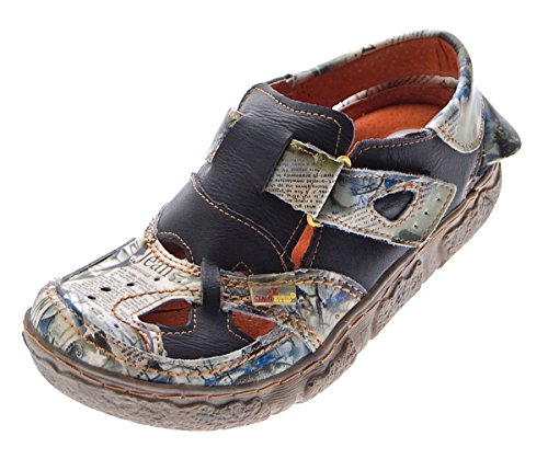 TMA Leder Damen Sandalen Echtleder Comfort Sandaletten viele Farben 7088 Halb Schuhe 36 - 42 Schwarz Grau/N