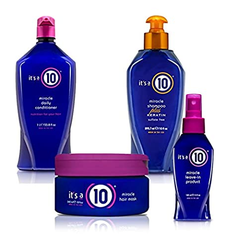 Top Selling It's A 10 Bundle, Miracle Daily Conditioner - 10oz, Miracle Shampoo Plus Keratin Sulfate Free - 10oz, Miracle Leave-in Product - 4oz, Miracle Hair Mask - 8 (Top Products)
