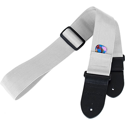 (Protec Guitar Strap featuring Thick Leather Ends and Pick Pocket, White)