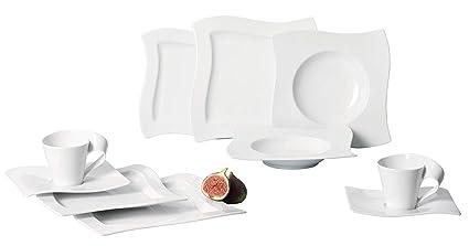 Villeroy & Boch NewWave Basic Vajilla de mesa para 6 personas, 30 piezas, Porcelana