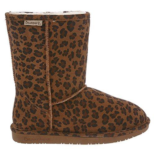 BEARPAW Women's Emma Short Winter Boot, Hickory Leopard, 10 M US