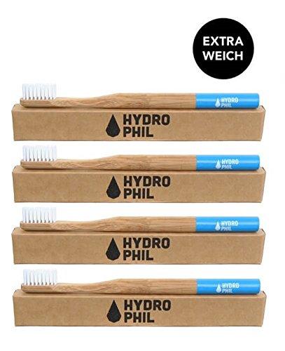 Hydro Phil Cepillo de dientes extra de suave azul (4 Pack) de bambú +