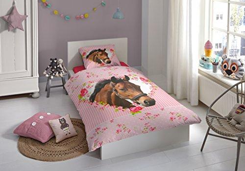 Bettwasche Fur Kinderzimmer ~ Aminata kids süße mädchen kinder bettwäsche 135x200 pferde motiv