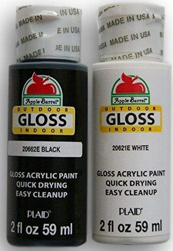 - Apple Barrel Acrylic Paint Outdoor Indoor Gloss Set - Black and White (2 Ounces Each)