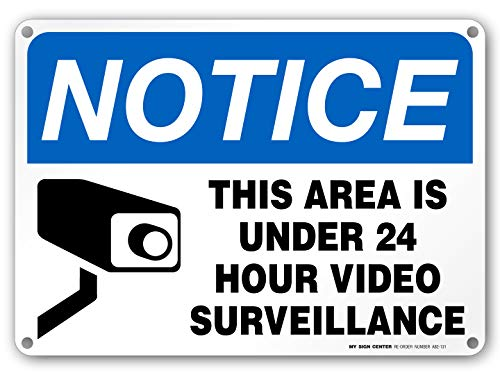 (24 Hour Video Surveillance Sign, Security Camera Sign Warning for Home or Business CCTV Monitoring System, Outdoor Rust-Free Metal, 10