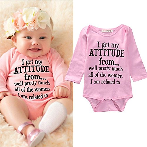 (I Get My Attitude from Onesie Newborn Outfit Baby Boy Onsie Set Bodysuits Short Sleeve Romper Jumpsuit Toddler Clothes Pink 3-6)