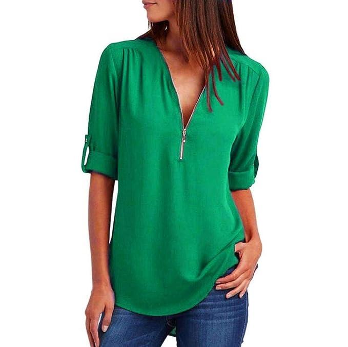280840669 Blusas Largas De Gasa De Mujer con Metal Camisetas De Sencillos Cuello  Redondo De Color Sólido