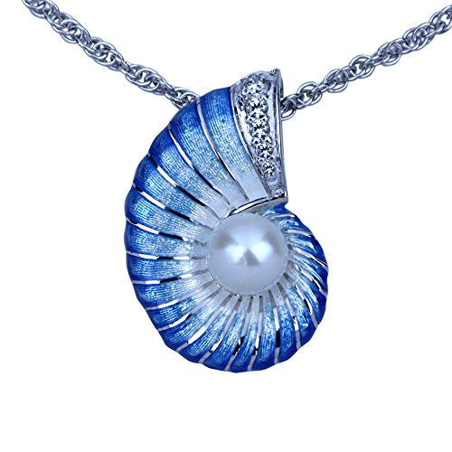Guy Harvey Nautilus Necklace - Sterling Silver and Vitreous Enamel (Blue)